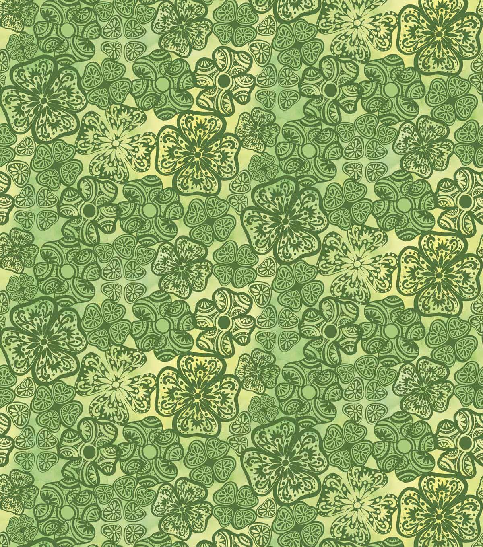 "Susan Winget St. Patricks Cotton Fabric 44"" - Clover Pattern"
