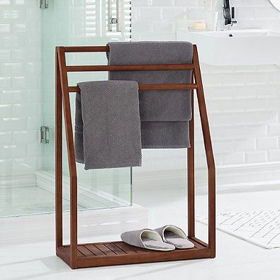 Haven Trade Stained Teak Floor Towel Stand In Brown Diy Towels Towel Rack Bathroom Towel Rack