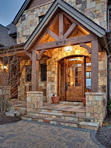 Rustic cedar shake siding wood and stone pillars wood - Rustic home exterior color schemes ...