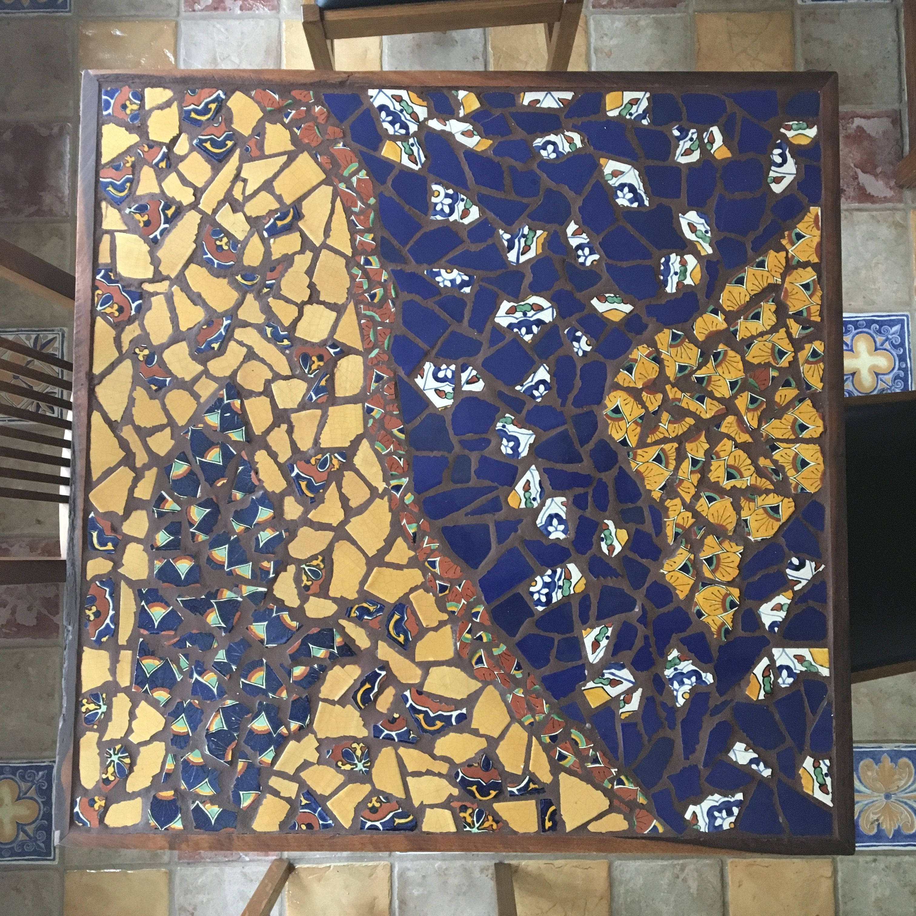 Table of Talavera tile mosaic and black walnut trim. By M ...