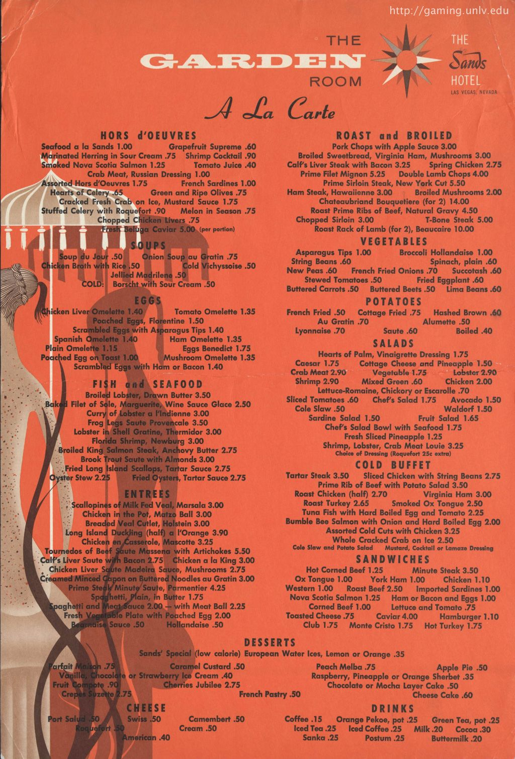 The Garden Room Menu From The Old Sands Hotel In Las Vegas  Print Inspiration Luxor In Room Dining Menu Design Ideas
