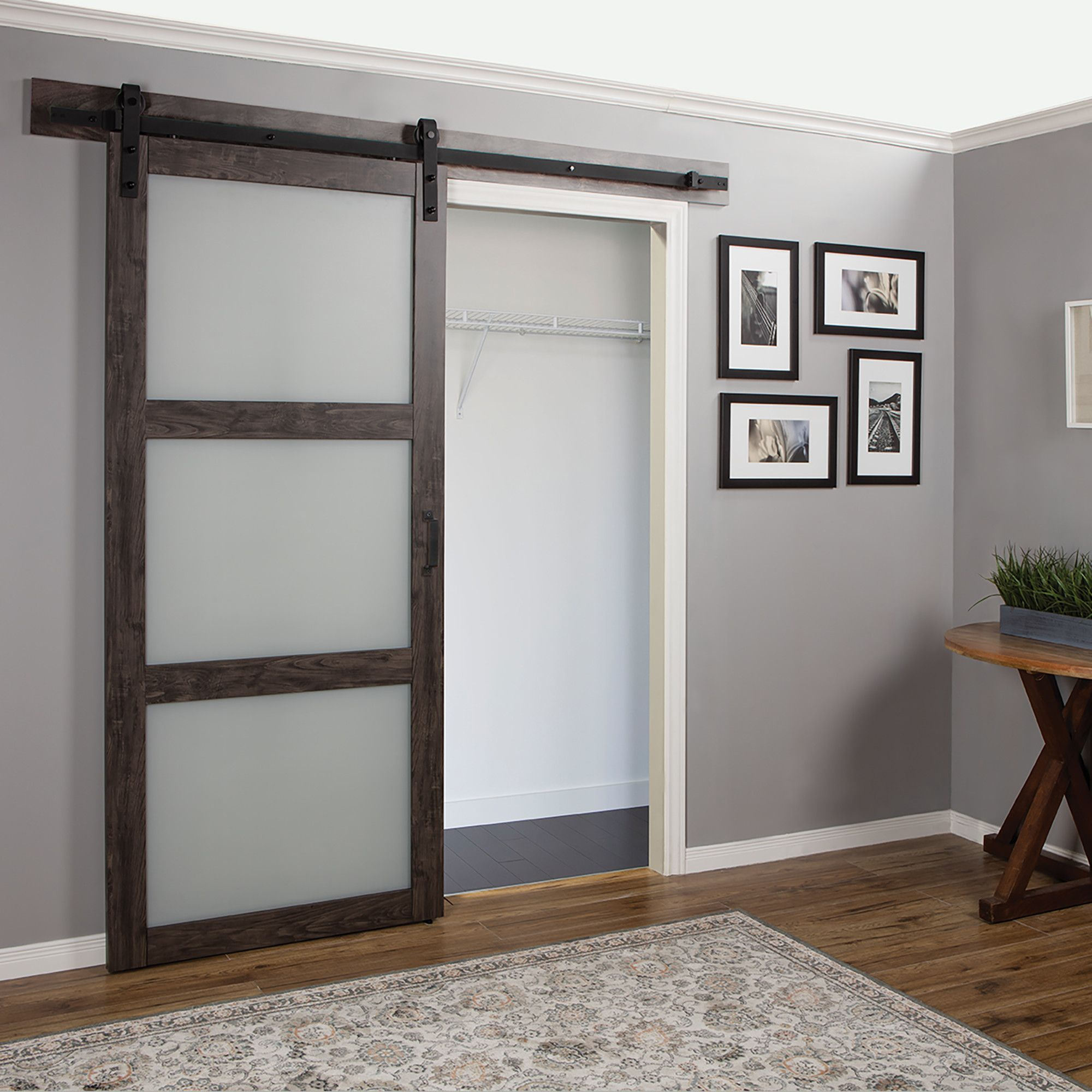 Erias Home Designs Continental Frosted Glass 1 Panel Ironage Laminate Interior Barn Door Glass Barn Doors Barn Doors Sliding Sliding Doors Interior