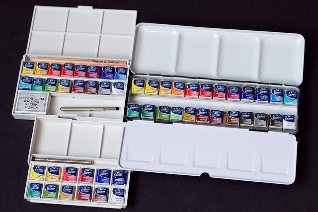 Aquarelle Cotman Boite Plastique Sketchers 12 Demi Godets