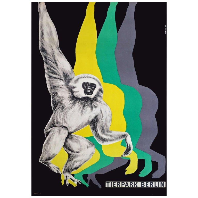 Roland Bayer Posters 1970S Berlin Zoo Monkey Travel