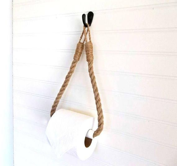 Photo of Rope Toilet Paper Holder Rustic Jute Toilet Roll Wall Hanger & Hook Bathroom Fixture Beach Lake House Coastal Farmhouse Nautical Boat Decor – Pinies