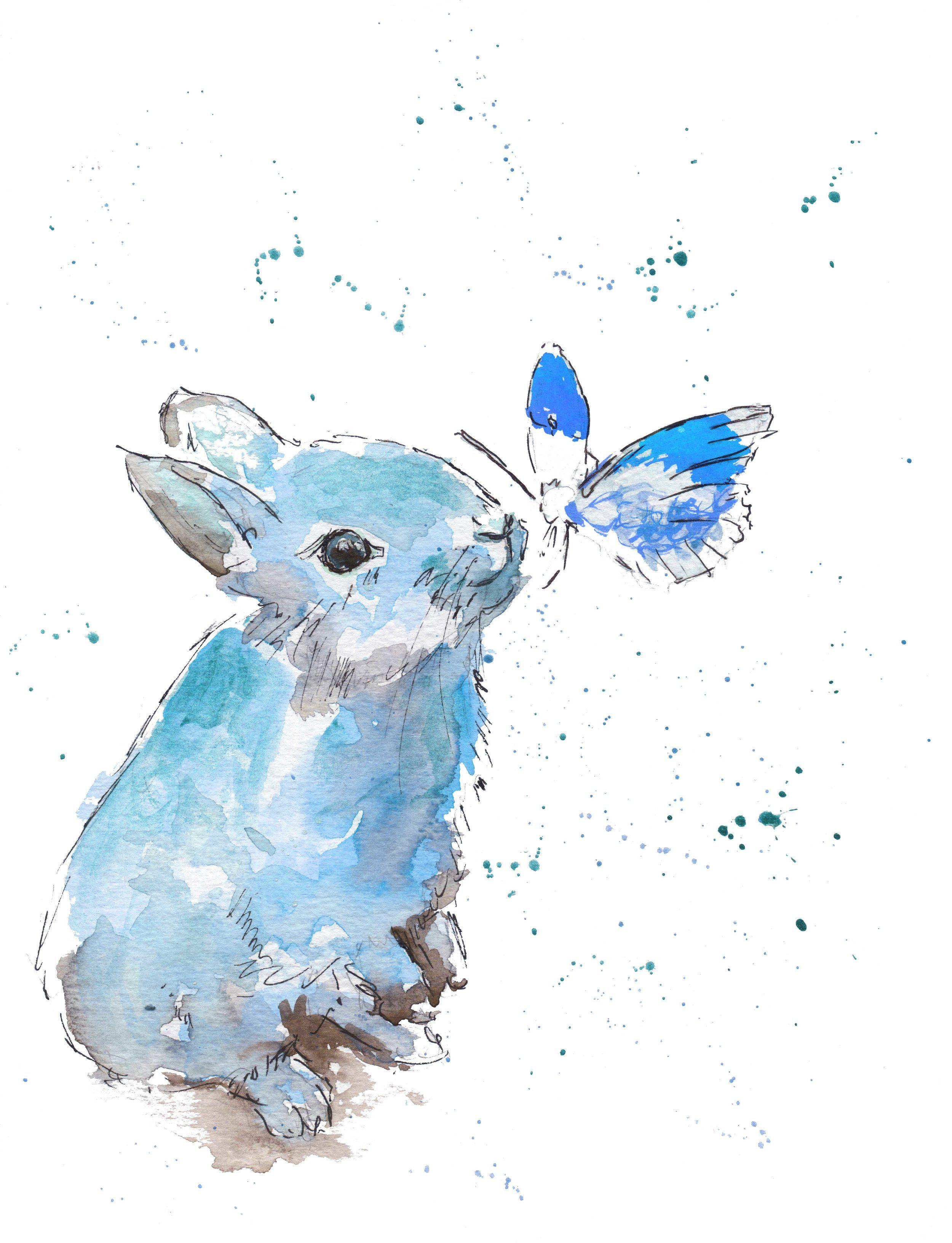 Blue Bunny Rabbit Watercolour Print Nursery Wall Art From