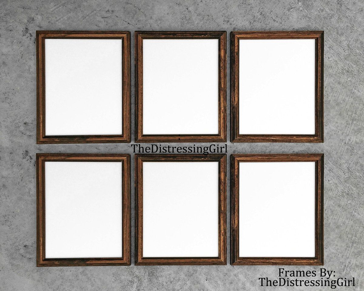 Six 8 X 10 Wooden Picture Frames Dark Wood Frame With Glass Backing And Hanging Hook Set Of 6 Matching 8x Picture Frame Gallery Wooden Picture Dark Wood Frames