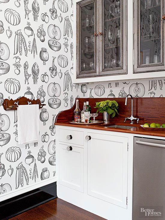 16 Creative Ways To Use Wallpaper In The Kitchen Kitchen Wallpaper Modern Kitchen Wallpaper Kitchen Wallpaper Accent Wall