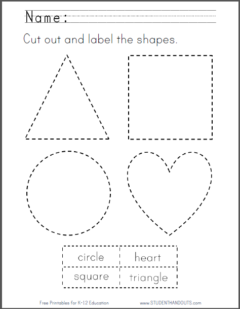 Cut Out And Label The Shapes Printable Free To Print