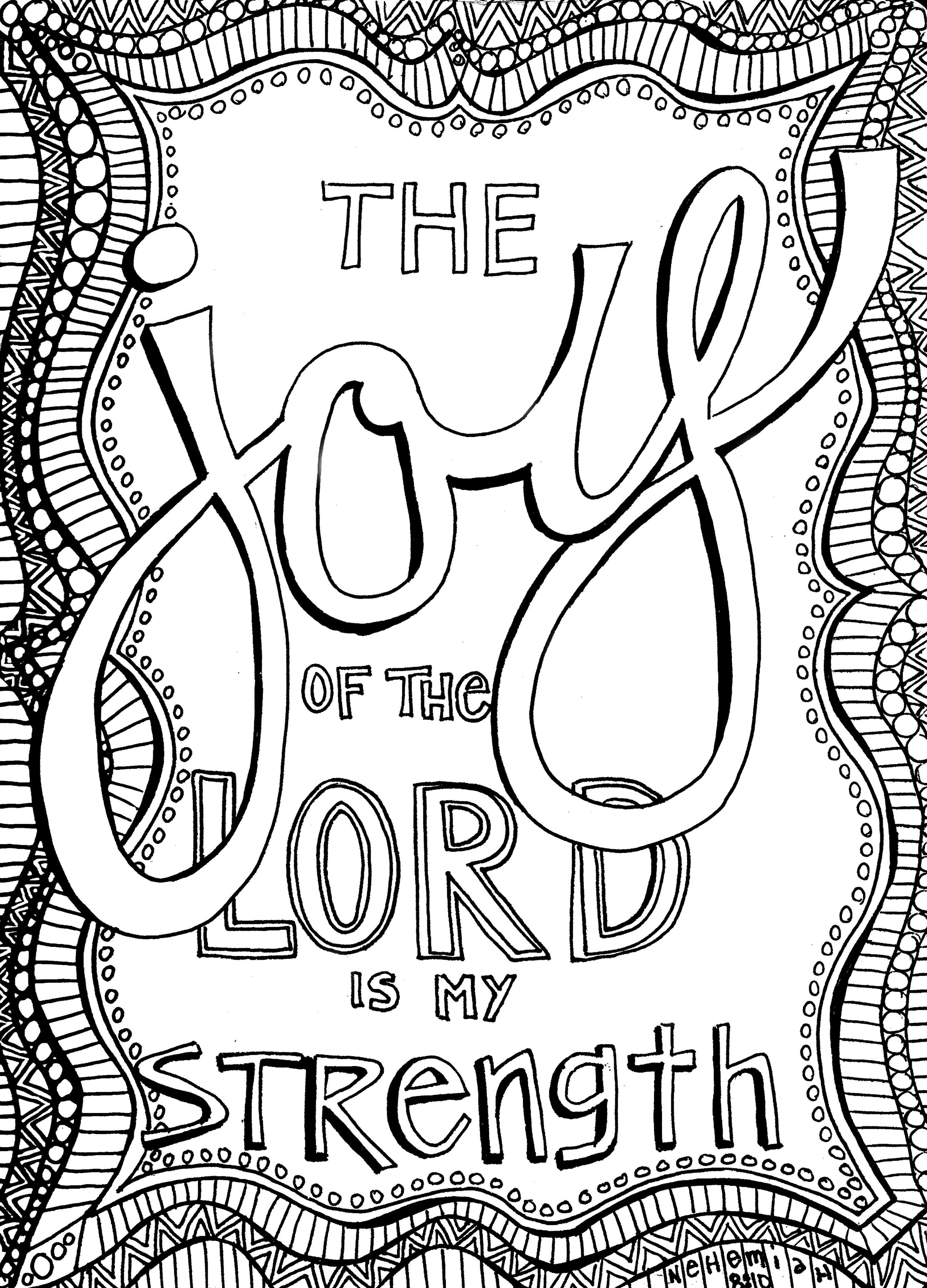 The Joy Of The Lord Sunday Doodle Bible Verse Coloring Page Bible Coloring Quote Coloring Pages