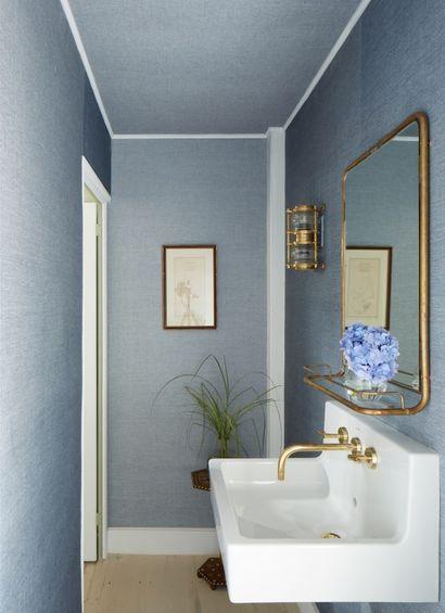 Smokey Blue Bedroom: Smokey Blue Linen Bathroom—plus Ceiling! ASH NYC
