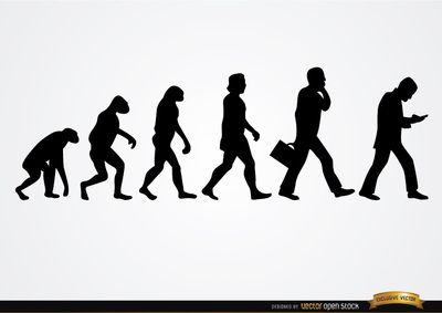 Businessman evolution silhouettes showing transformation from primates to Homo sapiens, and then into businessman with briefcase and cell phone. It's a funny vector to use in printed or digital media related to business. High quality JPG included. Under Commons 4.0. Attribution License.