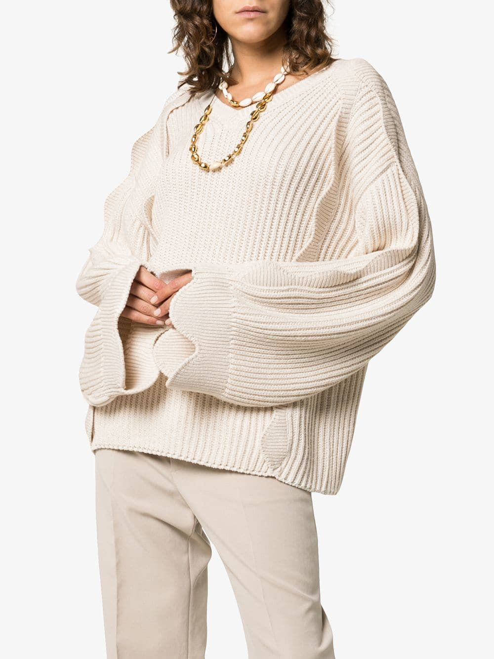 eac5bc8f7abe Stella McCartney Scallop Sleeved Oversized Knitted Jumper in 2019 ...