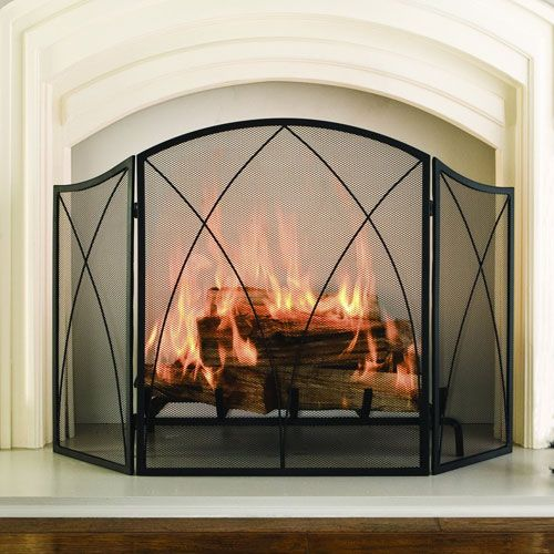 Pleasant Hearth Black Powder Coat Arched 3 Panel Fireplace Screen