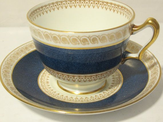 Vintage Blue and Gold Tea Cup and Plate