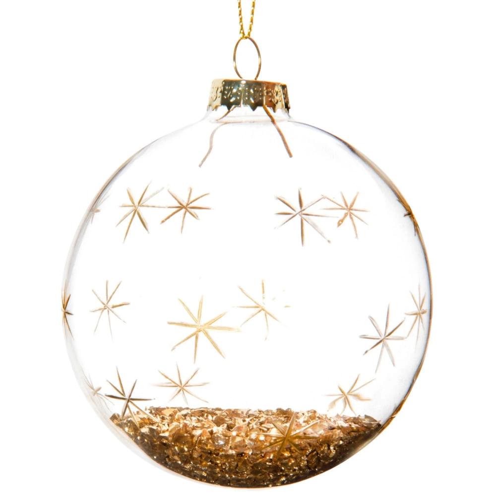 Bola De Navidad De Cristal Con Estampado De Estrellas Y Purpurina Dorada Maisons Du Monde Bolas De Navidad Adornos Navideños Hechos A Mano Esferas Navidad