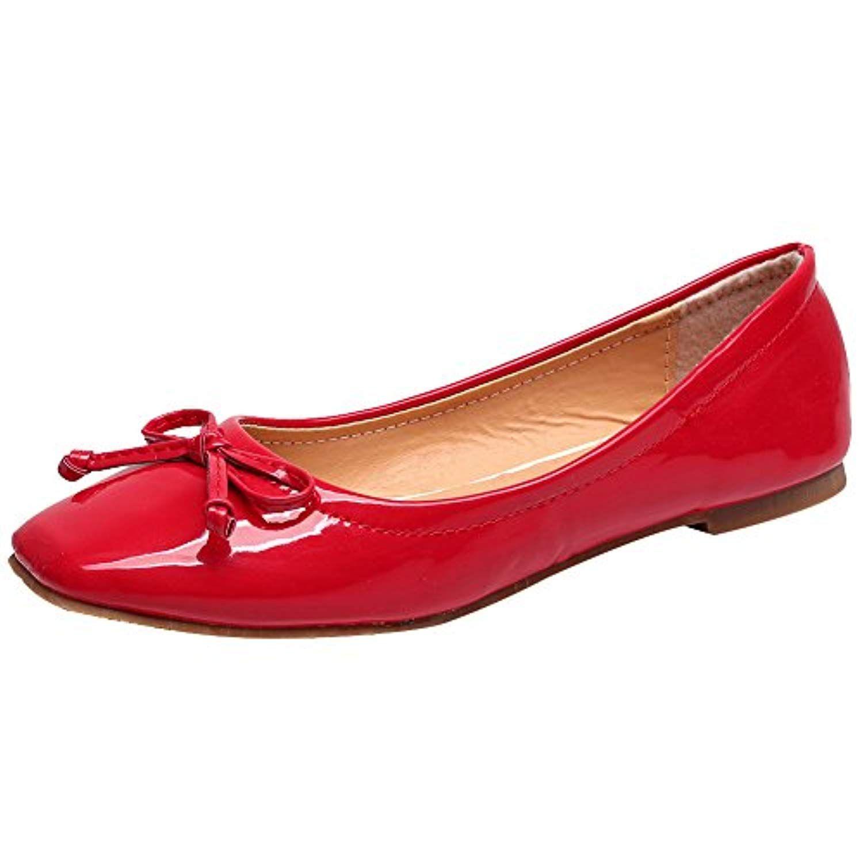 Jamron Femmes Doux Brevet PU Cuir Loisir Chaussures Dolly Poids Léger  Résistant à L Eau 3fdf834b759c