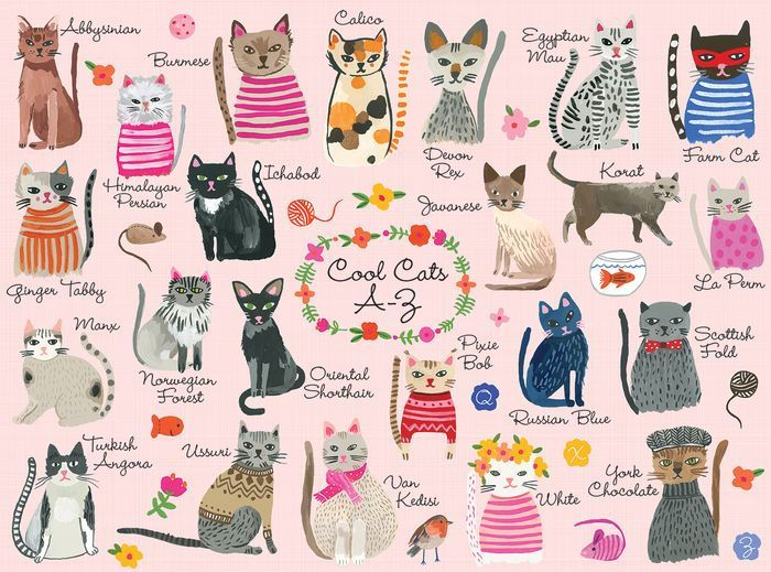 Put Together This 1000 Piece Family Puzzle From Mudpuppy To Reveal A Series Of Cool Cats That Represent Each Letter Of The Cool Cats Cat Puzzle Baby Wall Art