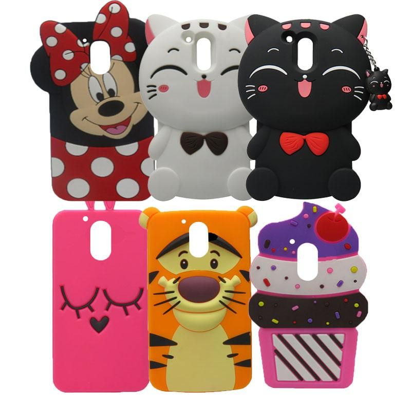 13132550e5a For Motorola Moto G4 Case Hot 3D Silicon Cupcake Minnie Cat Cartoon Soft  Phone Back Cover for Moto G4 Fundas G4 Plus