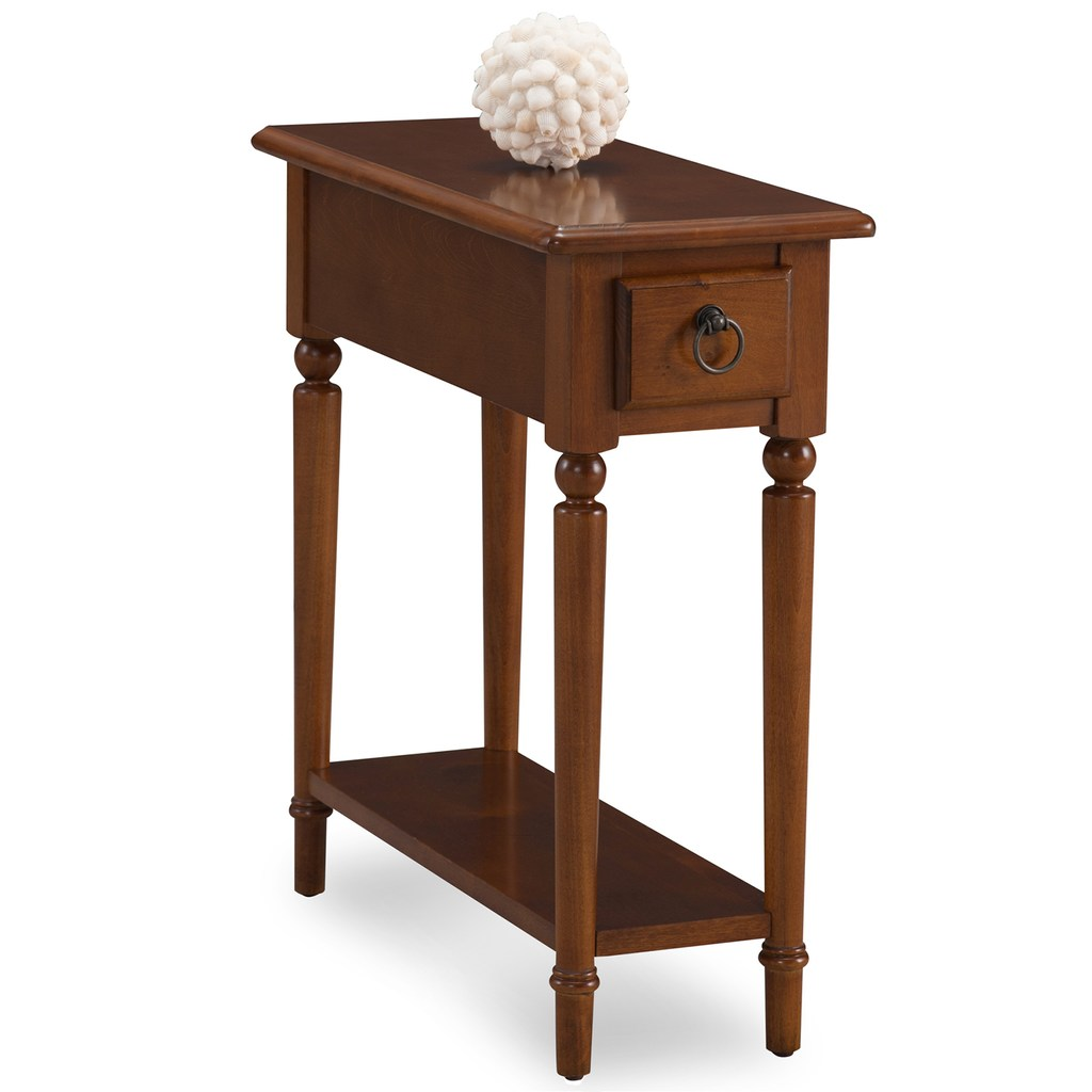 Leick Furniture Coastal Narrow Chairside End Table Chair Side Table Wood Accent Table Table Shelves