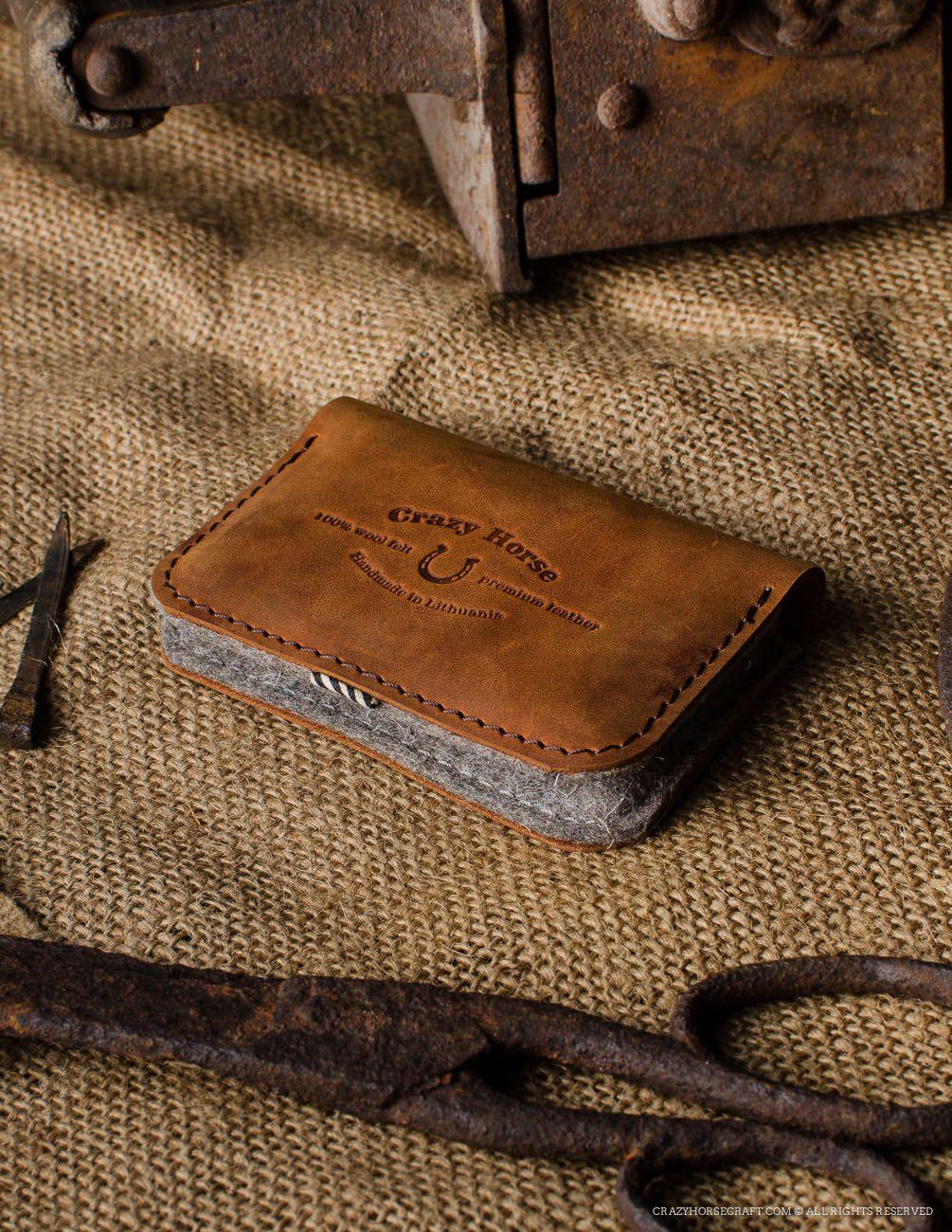 Leather business card holder credit bank card holder wallet orange ...