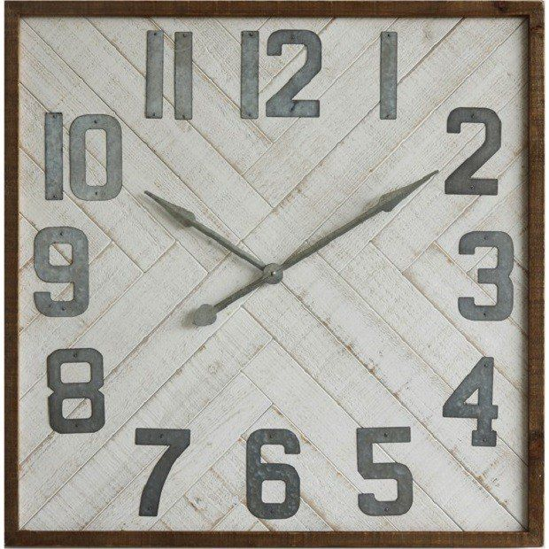 Square Wood Wall Clock with Metal Numbers - huge 36