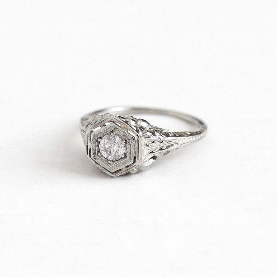 antique 18k white gold art deco 15 carat diamond ring 1930s lovebird flower