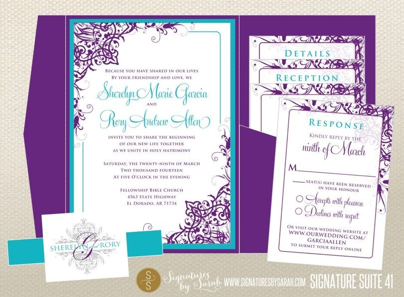 24 Brilliant Picture Of Purple And Teal Wedding Invitations