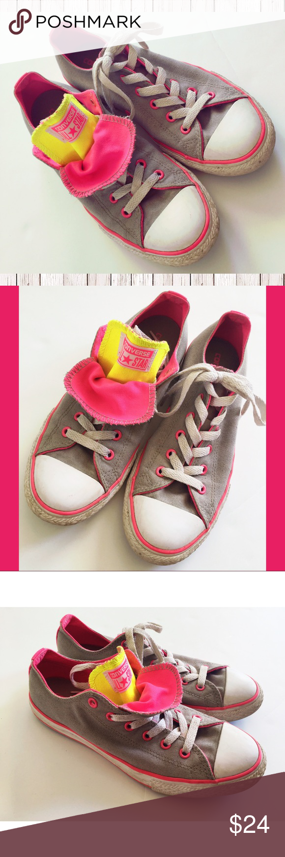 Girls converse size 5 gray neon pink low tops converse low tops girls converse size 5 gray neon pink low tops girls converse low top sneakers size 5 youth this corresponds to a womens 7 on the converse size chart nvjuhfo Gallery