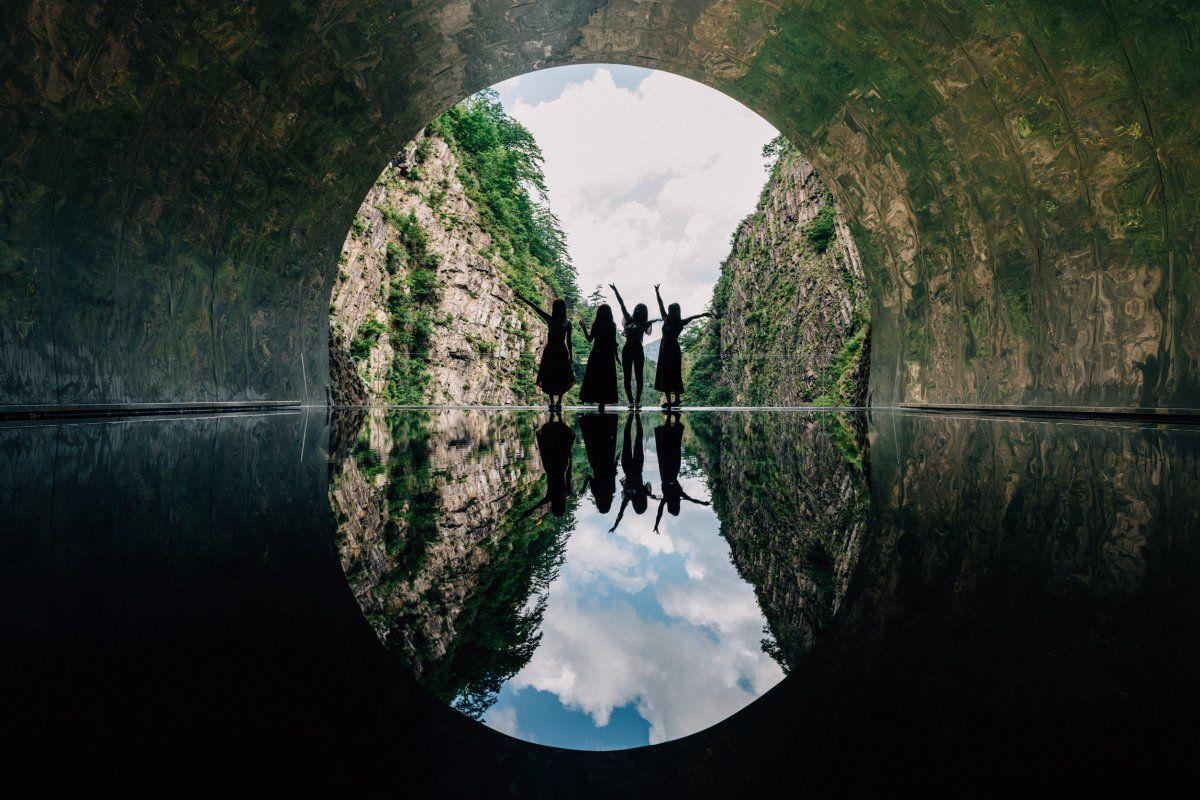 新潟県 清津峡渓谷トンネル 清津峡 新潟 夏 風景