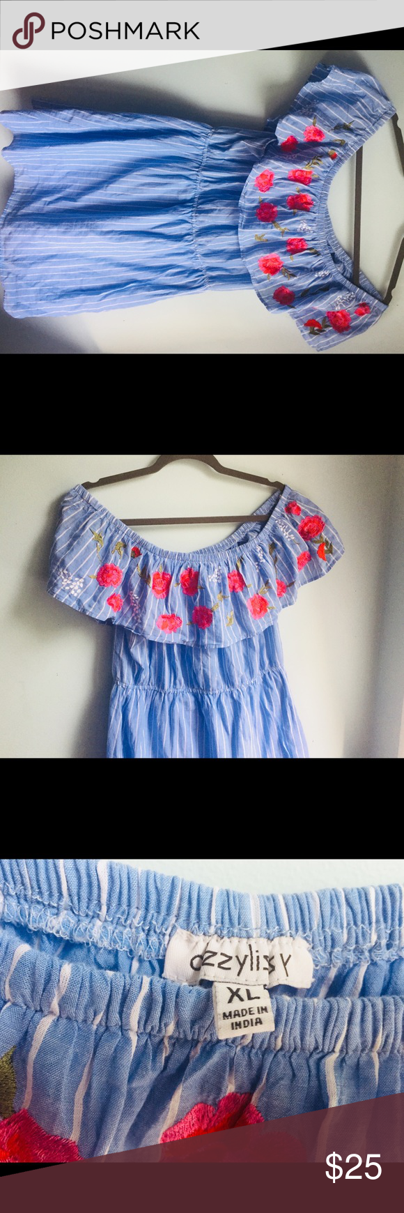 Blue and white striped dress with red flowers red flowers ea and