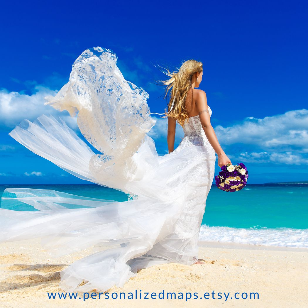 Wedding Inspiration! :) #personalizedmaps  #giftsforher #bride #anniversarygift #giftsideas #maps #bluesky #weddinggift #weddingdress #beachtime #summer #blondegirl #creativegifts #designs #printgifts #love