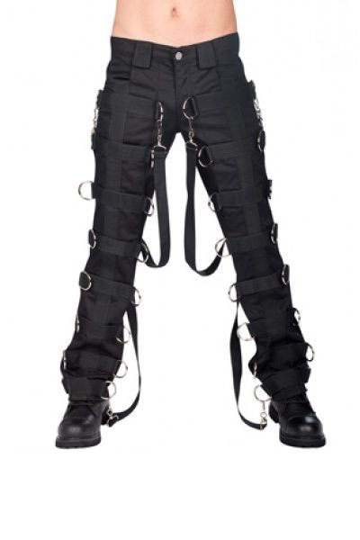 Goth industrial pants from Aderlass in Germany.  Get your fix of webbing straps and large silver d-rings on these fit for fighting or clubbing trousers.  Made from sturdy black cotton drill.