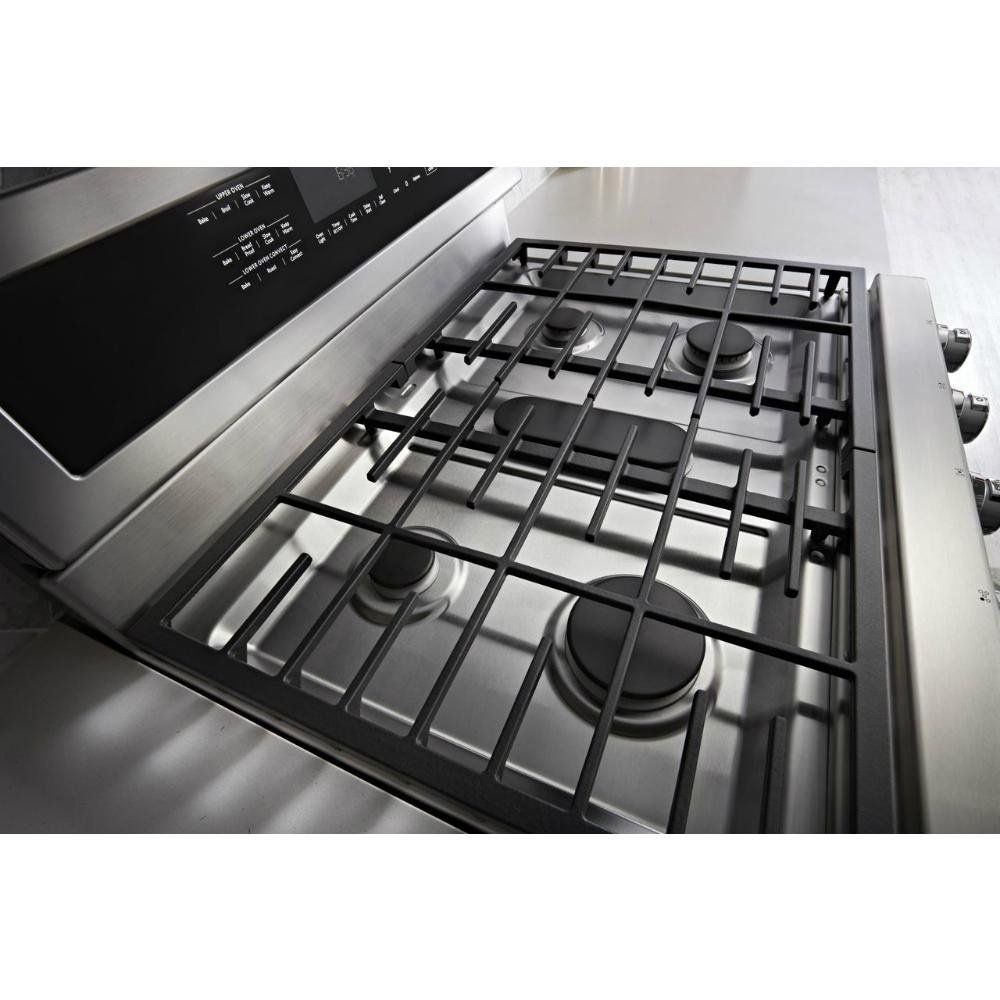 Kitchenaid double oven gas range 60 cu ft stainless