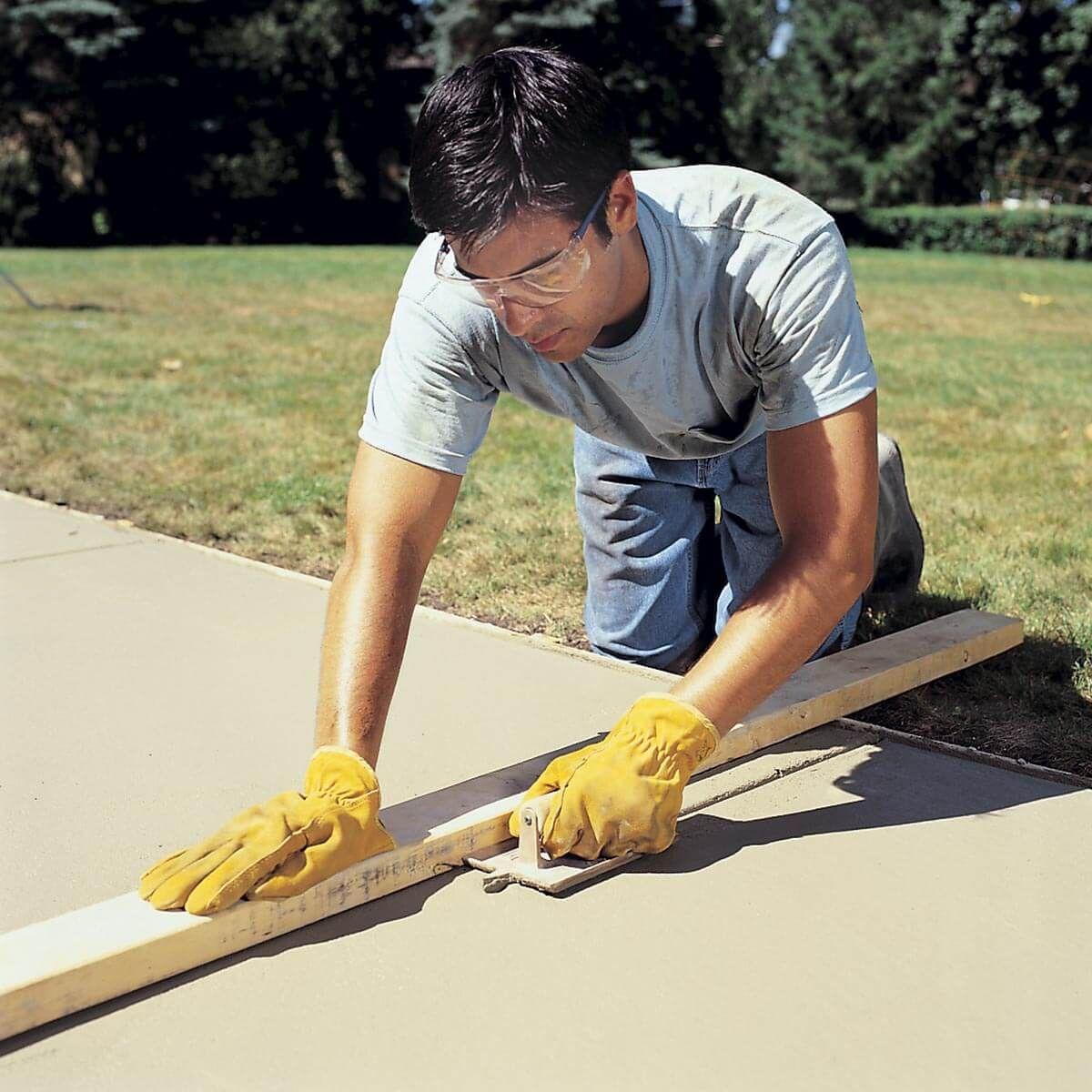 How To Pour A Concrete Sidewalk Concrete Slab Concrete Walkway Building A Shed