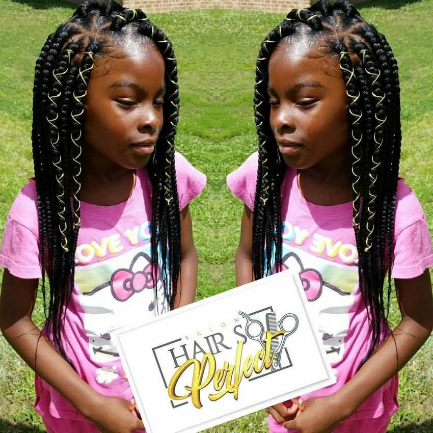 This Is An Impressive Box Braid Hairstyle For Kids This Hairstyle Will Definitely Change Her Look Fr Kids Box Braids Kids Braided Hairstyles Thick Hair Styles