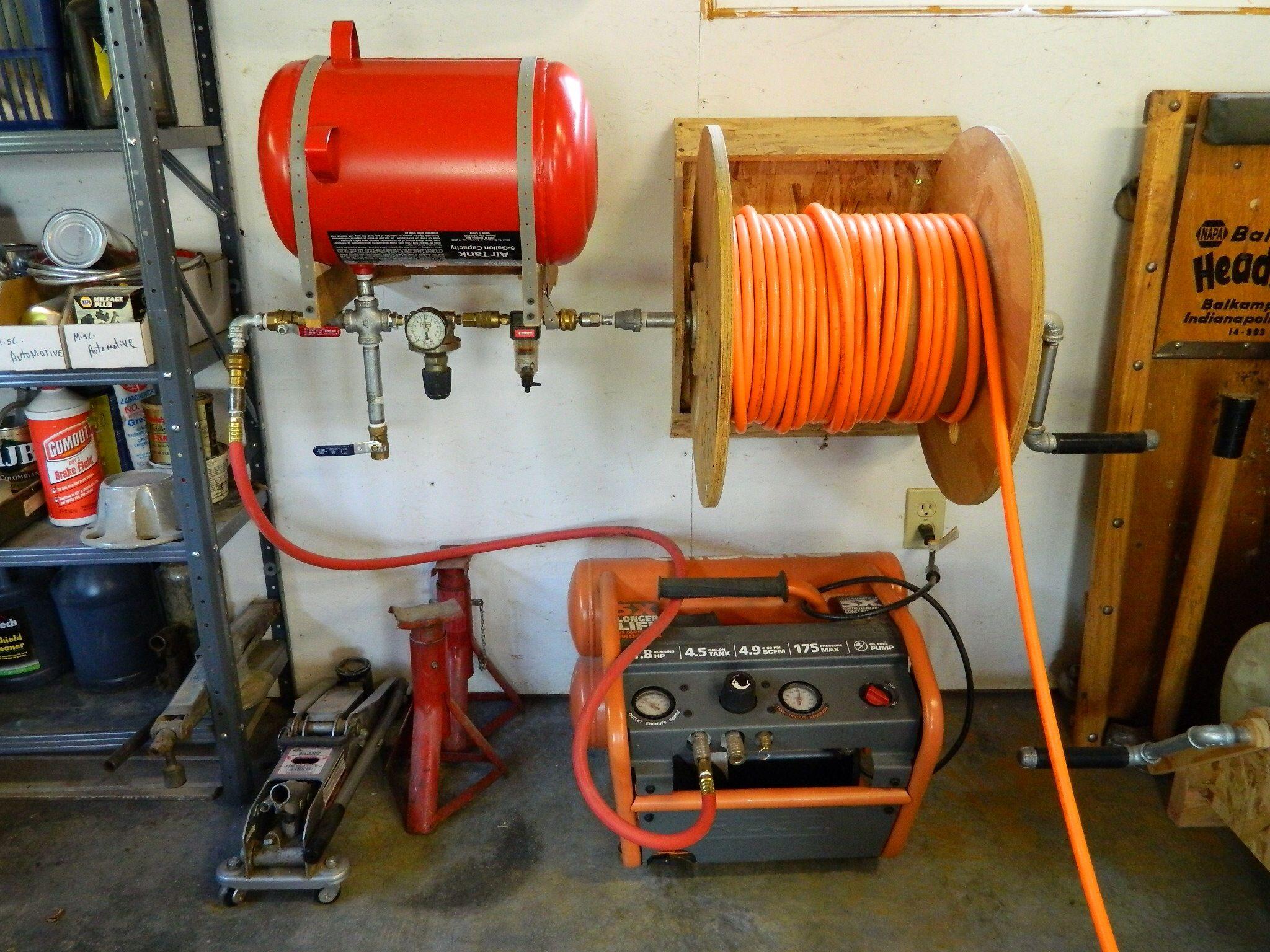 Shop Made Air Compressor Reel and Reserve Tank Garage