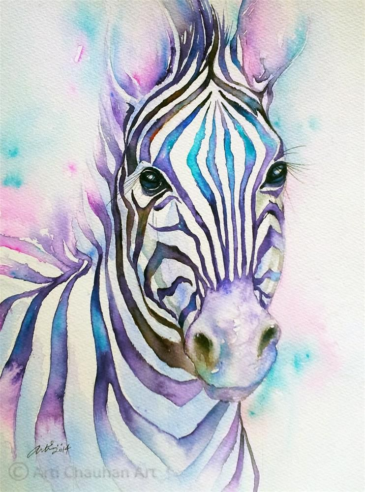 Turquoise Stripes Zebra Original Fine Art By Arti Chauhan Zebra