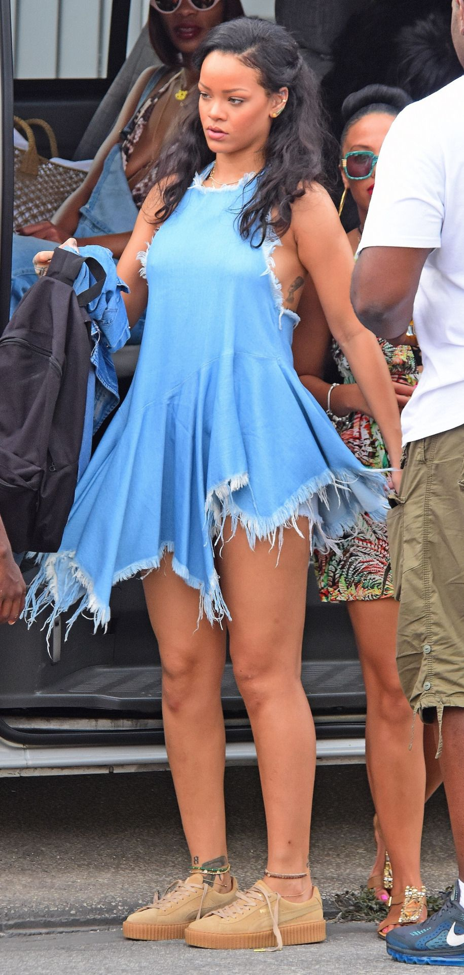 4 Rihanna 39 S Barbados Boxing Day Marques Alemeida Frayed Denim Halter Top My Closet Pinterest