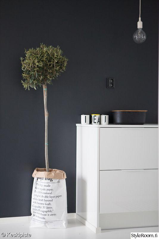 keittiö,musta seinä,yksityiskohtia,valkoinen lattia,keittiön sisustus