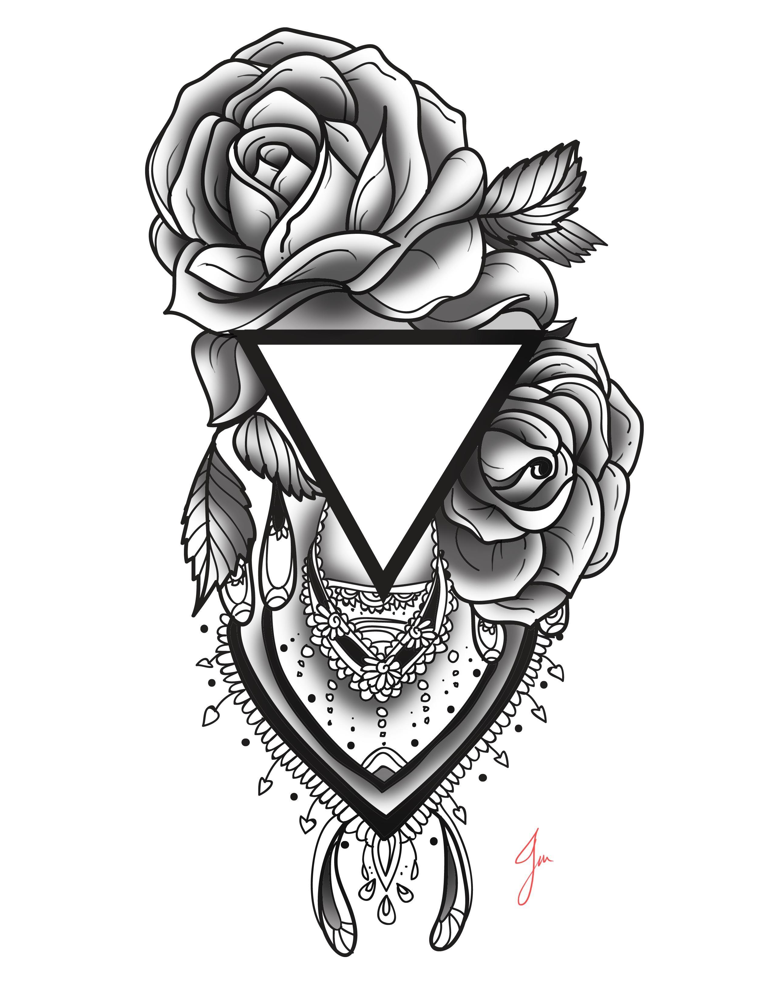 Rose And Triangle Tattoo Henna Pattern Added Jm