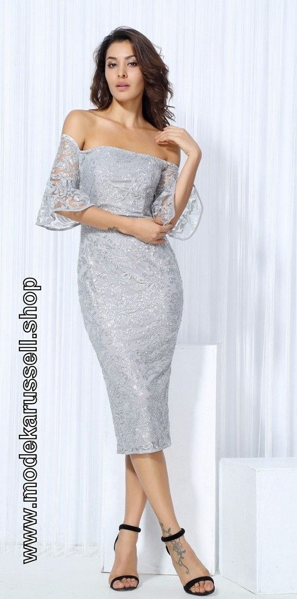 Schulterfreies Kleid Cocktailkleid 2018 Gerhild in Silber | fashion ...