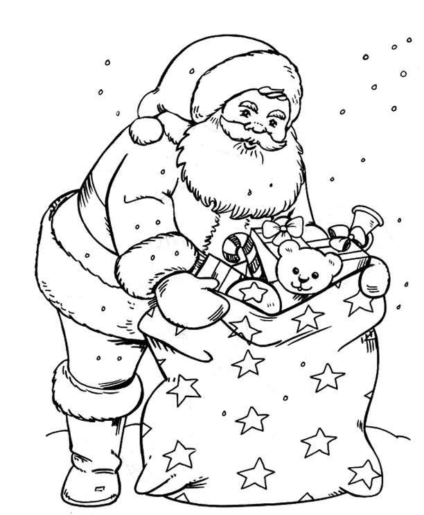 Father Christmas Pictures To Colour
