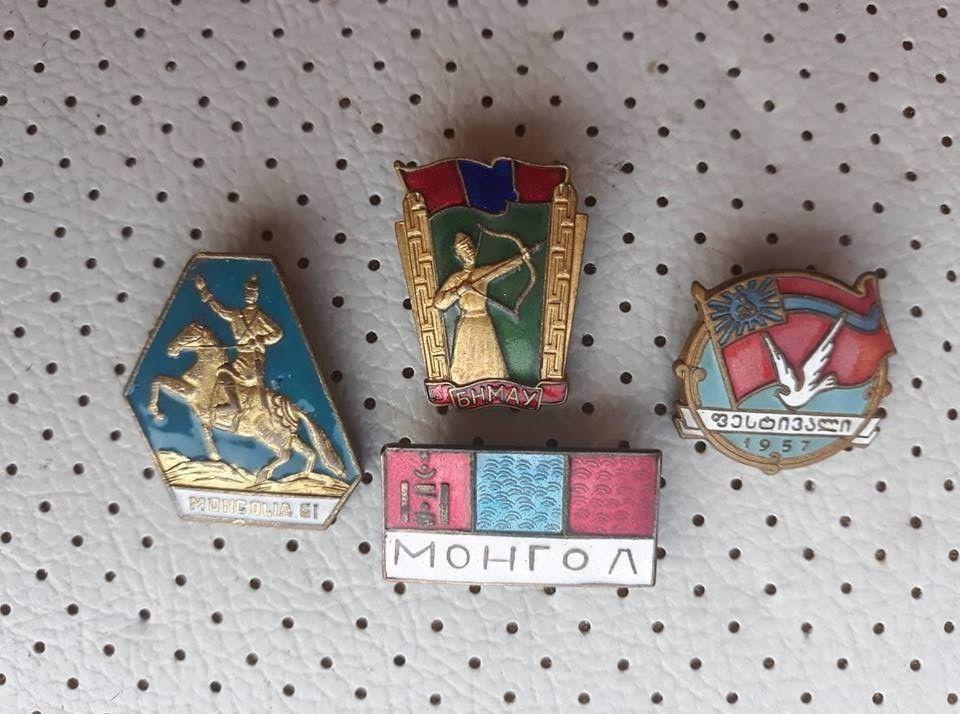 649820f747fa Mongolia Military Communist Propaganda Vintage Badges Collection Mongol  Crests
