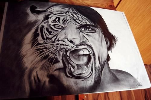Tiger/Man Drawing