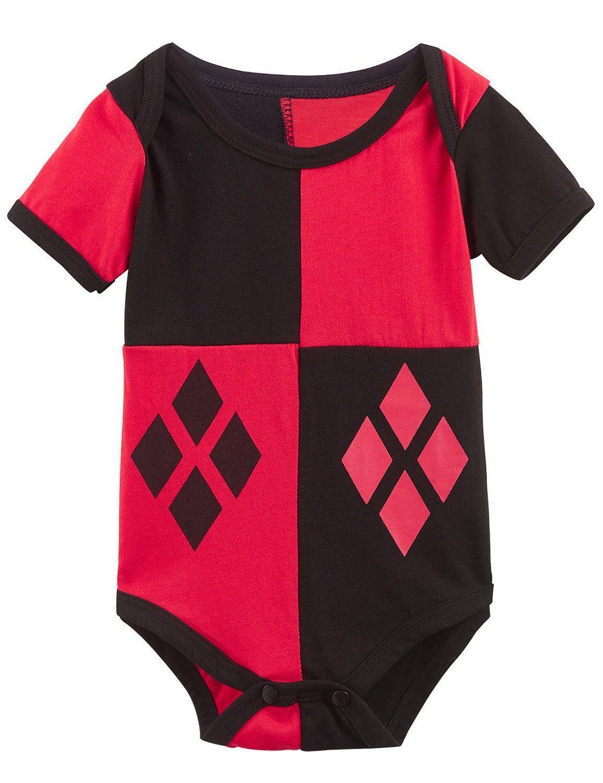 89b8f5ddb Amazon.com  A J Design Baby Girls  Harley Quinn Short Sleeve Onesie ...