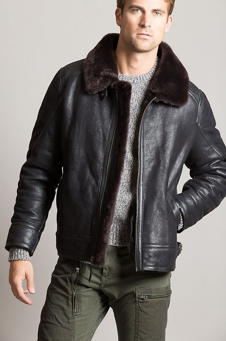 The Brody Sheepskin Bomber Boasts A Rugged Sheepskin Design With A Distressed Look And Supreme Insula Leather Jacket Men Bomber Jacket Fashion Sheepskin Jacket [ 1109 x 736 Pixel ]