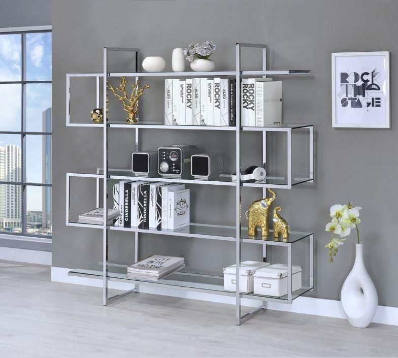 Kendall Collection 801304 Four-Tier Chrome and Glass Bookcase ...