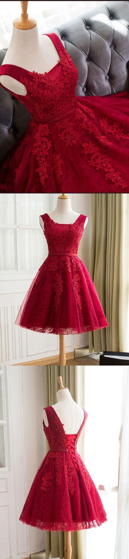 Burgundy homecoming dress straps aline lace appliques laceup short