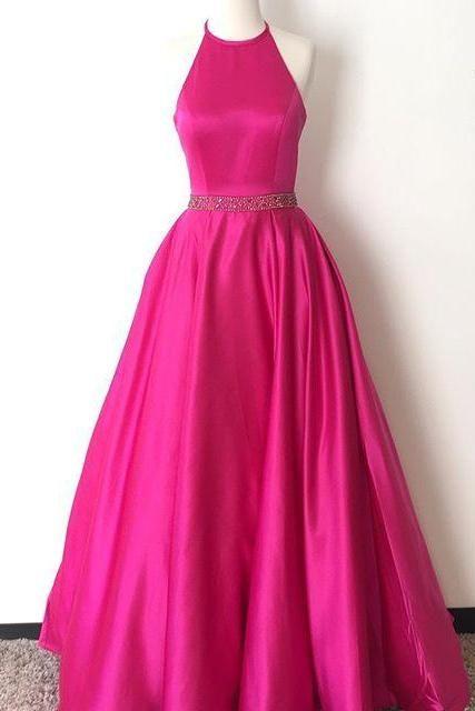 Hot Pink Halter Long Satin Prom Dresses,Open Back A-line Simple ...
